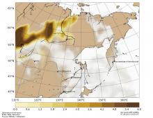 """По карте аэрозольного индекса, построенной на основе спутниковых данных с КА """"Suomi NPP"""", можно оценить степень загрязнения атмосферы мелкодисперсными частицами от действующих пожаров в Якутии."""
